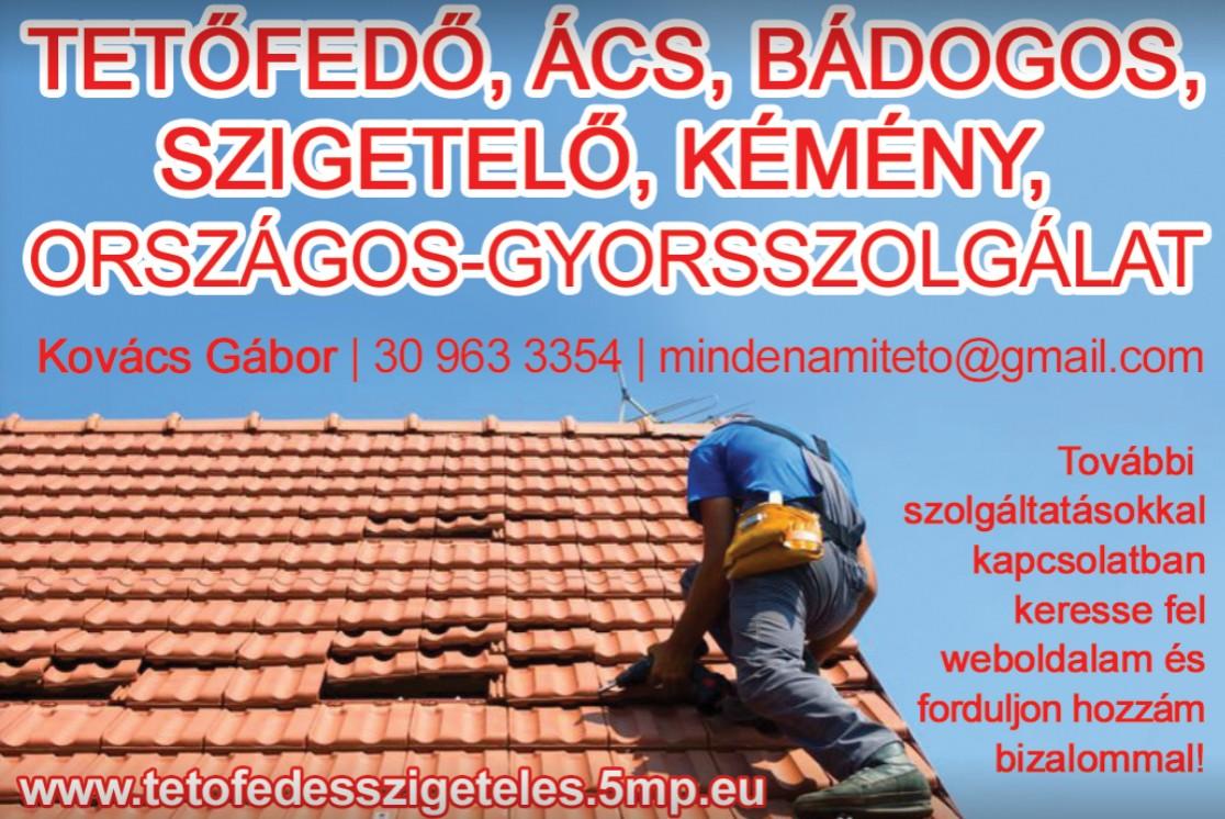 Tetőfedő, Ács, Bádogos, Kéményjavítás - Kovács Gábor